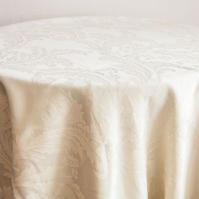 """Damask Table Cloth 90 x 90"""" (Square) - Ivory"""
