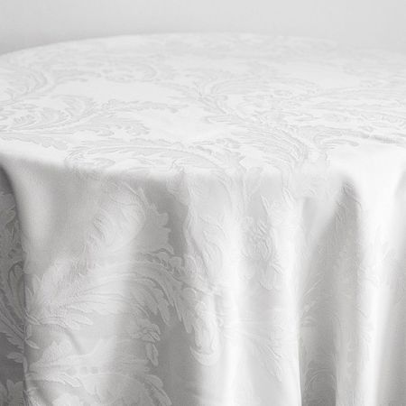 """Damask Table Cloth 132"""" x 132"""" (Round) - White"""