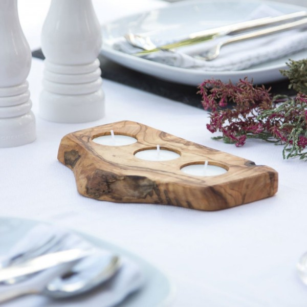 Wooden Candle Tray - 3 Tealights