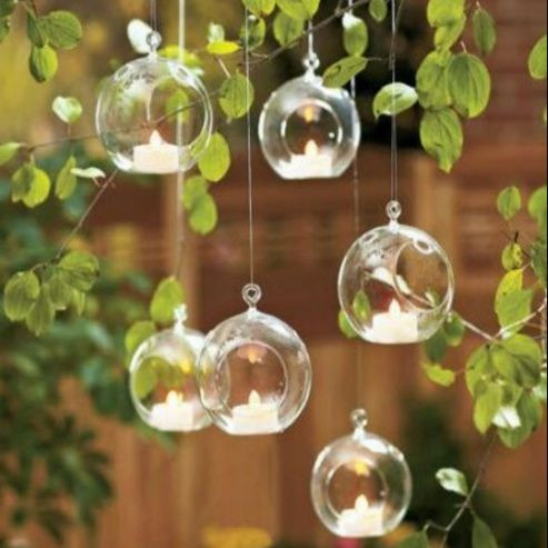 Hanging Glass Baubles with Tealights