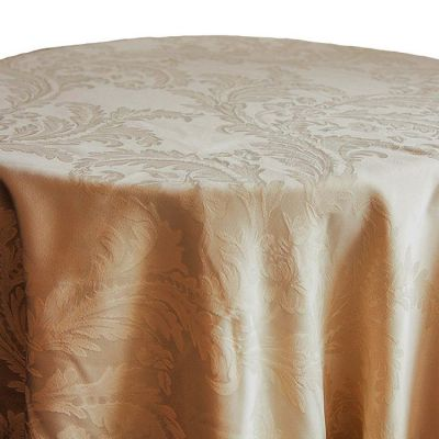 """Damask Table Cloth 120"""" x 120"""" (Round) - Gold"""