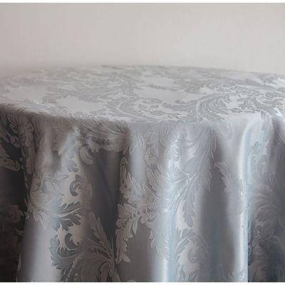 """Damask Table Cloth 120"""" x 120"""" (Round) - Silver"""