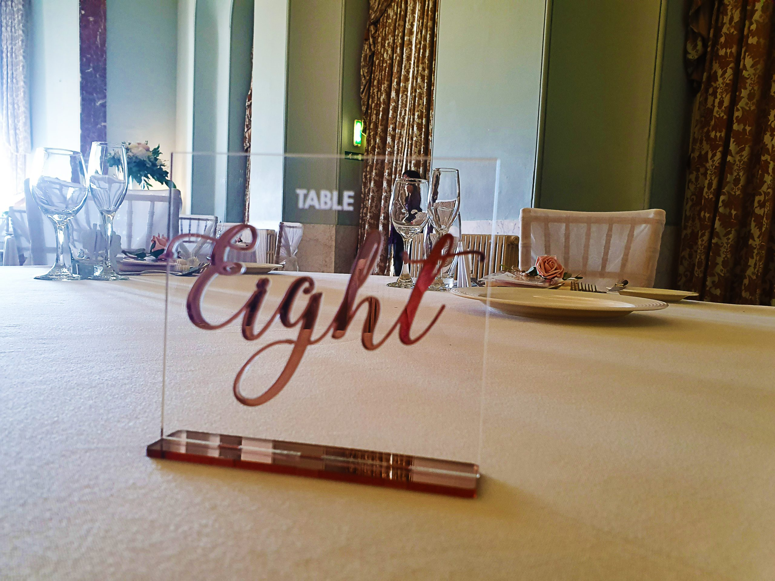 Acrylic Table Number - Rose Gold