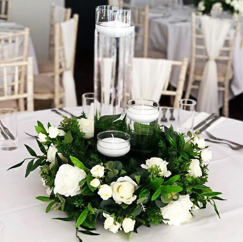 Cylinder Vases with Foliage and Roses