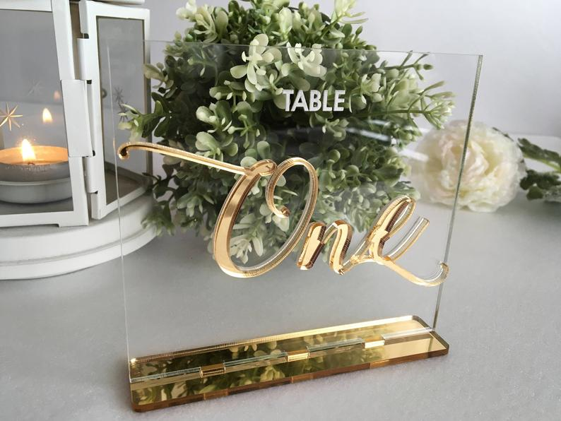 Acrylic Table Number - Gold